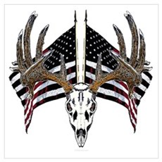 Whitetail skull on old glory Poster