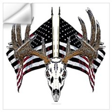 Whitetail skull on old glory Wall Decal