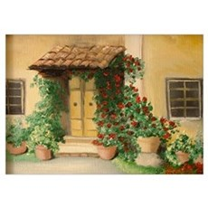 """Welcome"" Tuscan Cottage Poster"