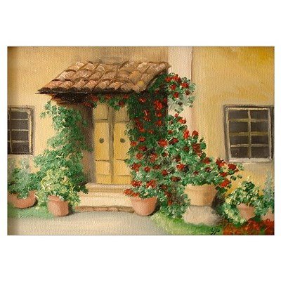 """""""Welcome"""" Tuscan Cottage Poster"""