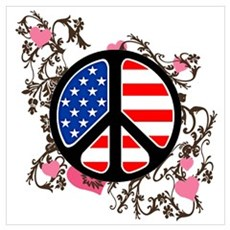 American Flag Peace Sign Poster