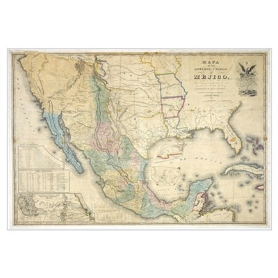 of Disturnell map of Mexico Canvas Art