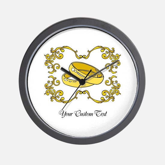 Wedding Rings. Custom Text Wall Clock