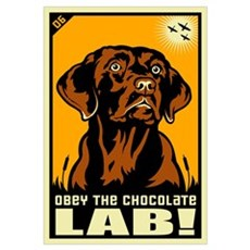 Obey the Chocolate Lab! Canvas Art