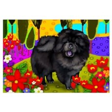 BLACK CHOW CHOW DOG Canvas Art