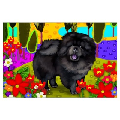 BLACK CHOW CHOW DOG Poster