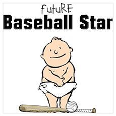 Future Baseball Star Framed Nursery Print Poster