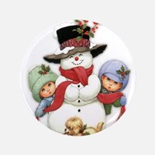 "Snowman w/ Kids 3.5"" Button (100 pack)"