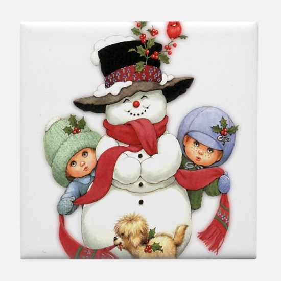 Snowman w/ Kids Tile Coaster