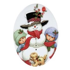 Snowman w/ Kids Ornament (Oval)