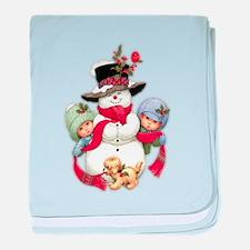 Snowman w/ Kids baby blanket