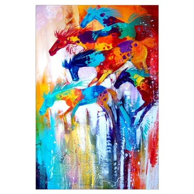 Color Riot Horses Art Print Canvas Art