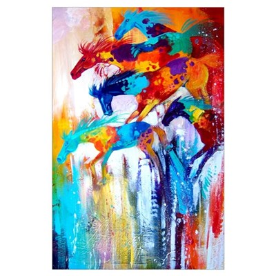 Color Riot Horses Art Print Poster