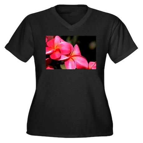 Plumeria Women's Plus Size V-Neck Dark T-Shirt