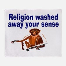 Religion washed sense away Throw Blanket