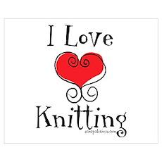 I Love (heart) Knitting Poster