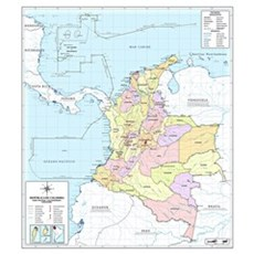 Official Colombian Map Wall Art Framed Print