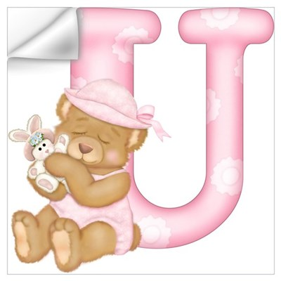 Teddy Alphabet U Pink Wall Decal