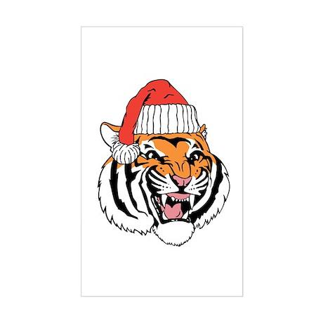 Tiger in a Santa Hat. Sticker (Rectangle)