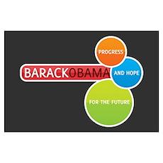Obama Progress & Hope Print (Mini) Poster