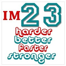 23 harder better faster stron Framed Print