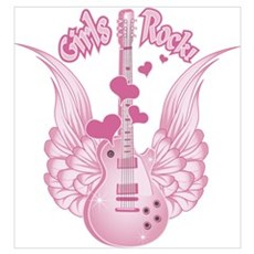 Girly Winged Guitar Poster