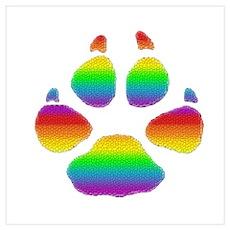 RAINBOW STRIPED BEAR PAW Poster