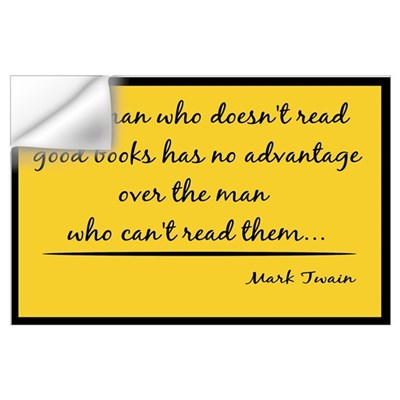 Twain Good Books--yellow Wall Decal