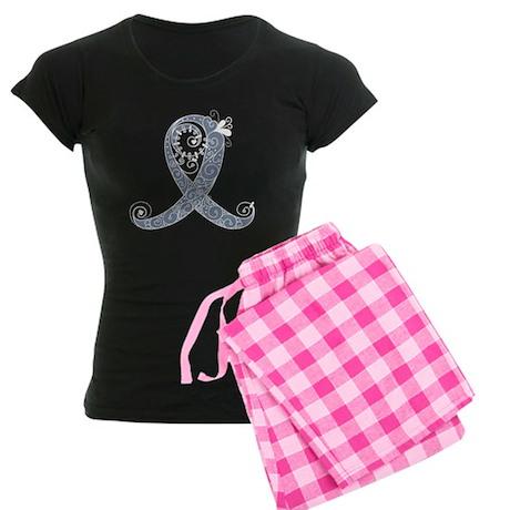 Curly Ribbon (White, Light) Women's Dark Pajamas
