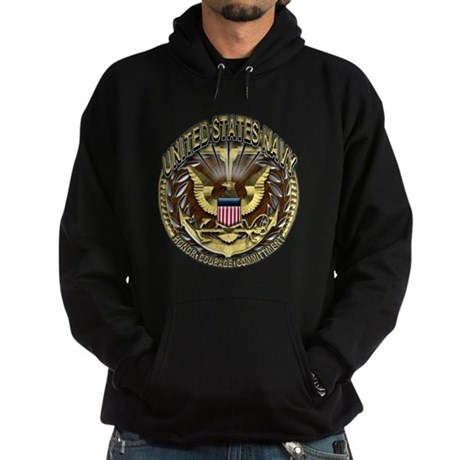 USN Golden Navy Eagle Planks Hoodie (dark)