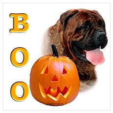 Halloween Bullmastiff Boo Poster
