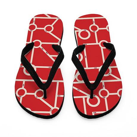 Geo Streets Red Flip Flops