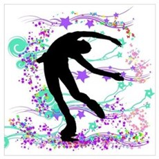 Ice Skater Spin Canvas Art