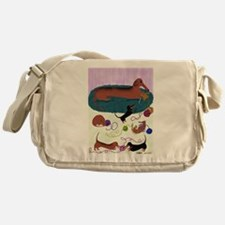 Knitting Dachshund Messenger Bag