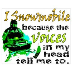 Voices in my head - snowmobile Framed Print