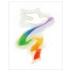 Dove with Rainbow Ribbon Poster