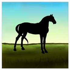 Grassy Field Horse Poster