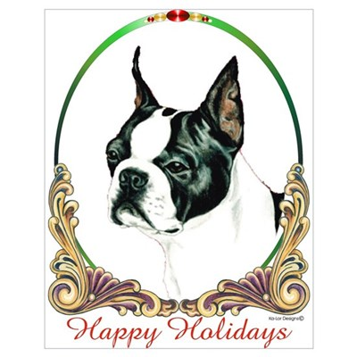 Boston Terrier Happy Holiday Poster