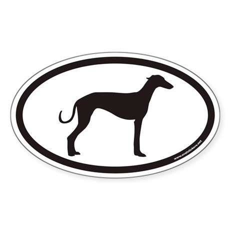 Greyhound Euro Oval Sticker