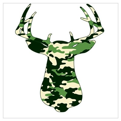 BUCK IN CAMO Framed Print