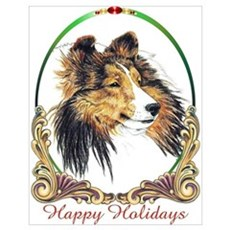 Sable Sheltie Happy Holiday Dog Poster