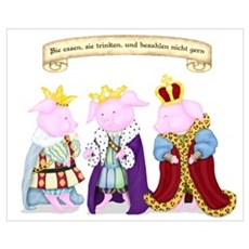 Three Wise Pigs Framed Print