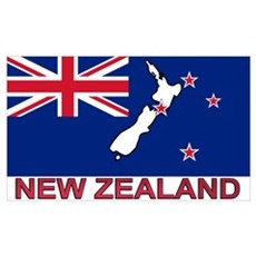 New Zealand Flag (labeled) Poster