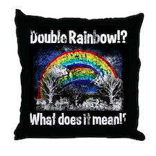 Double Rainbow, Worn Throw Pillow