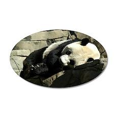 Mei Xiang resting on rocks 22x14 Oval Wall Peel