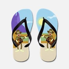 Sock Monkey Country Music Flip Flops