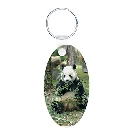 Panda Eating Aluminum Oval Keychain