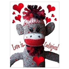 Love Is Contagious Sock Monkey Valentine Large Pos Canvas Art