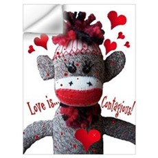 Love Is Contagious Sock Monkey Valentine Large Pos Wall Decal