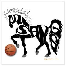 Basketball Team Mustangs (Black Design) Framed Pan Poster
